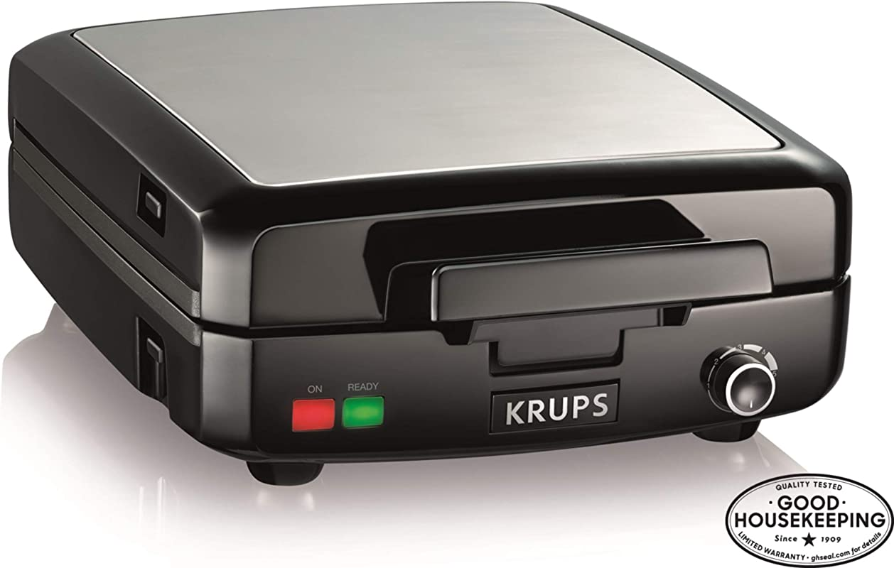KRUPS Belgian Waffle Maker Waffle Maker With Removable Plates 4 Slices Black And Silver