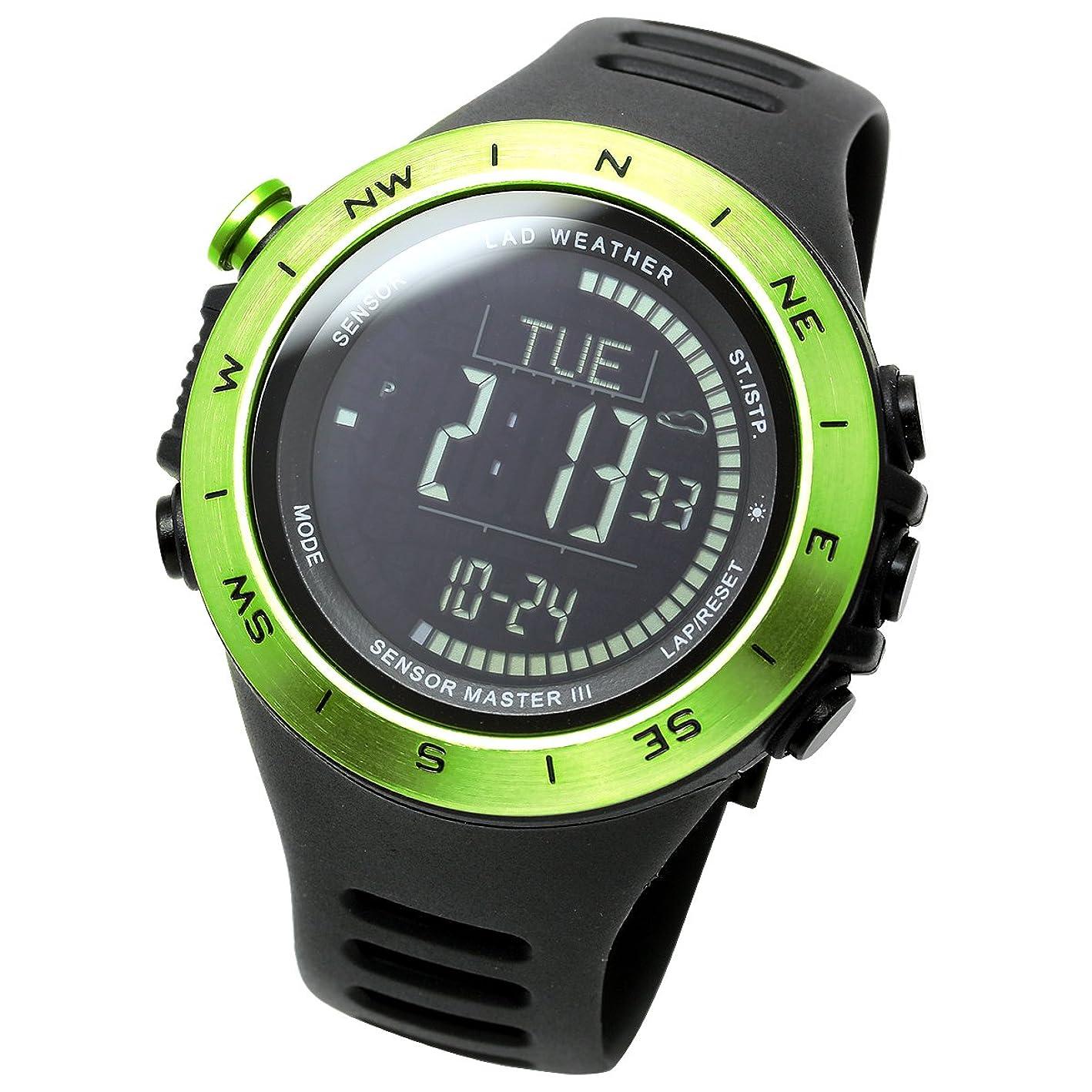 匿名マカダムに賛成[ラドウェザー]アウトドア腕時計 高度計 気圧計 気温計 歩数計 コンパス 100m防水 スポーツ時計 lad024