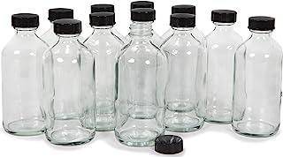 Vivaplex, 12, Clear, 8 oz Glass Bottles, with Lids