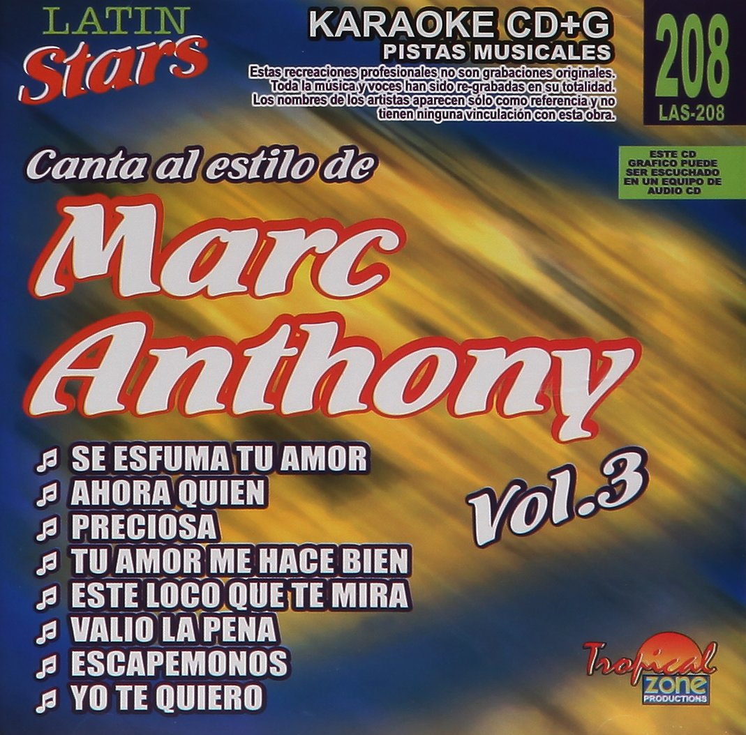 Karaoke Marc Anthony 3 Latin Stars Karaoke Amazon Sg Music