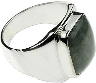 Natural Jade .925 Sterling Silver Modern Men's Ring, Fortress'