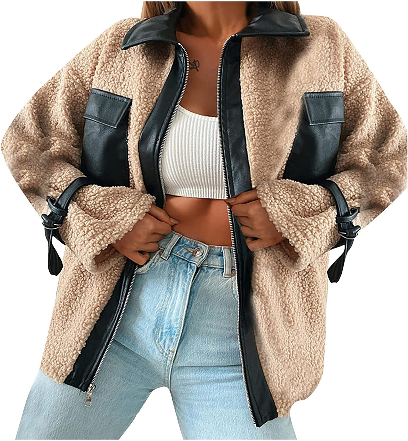 Women's Leather Patchwork Plush Warm Jacket Coat Fashion Long Sleeve Shirt Blouses Casual Plus Size Tops with Pocket