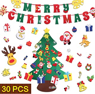 Best JOKBEN DIY Felt Christmas Tree Set, with Merry Christmas Felt Banner Wall Hanging Christmas Decorations with 30pcs Detachable Ornaments Xmas Gifts for Child Review