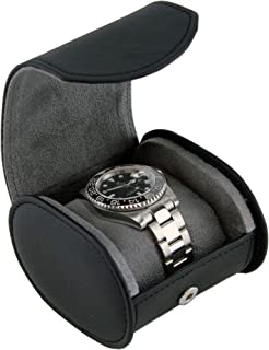Travel Watch Case for Men - Black Leather Watch Box Roll - Great for Travel with Large Watches
