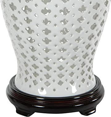 "Oriental Furniture 16"" Carved Lattice Decorative Temple Jar"