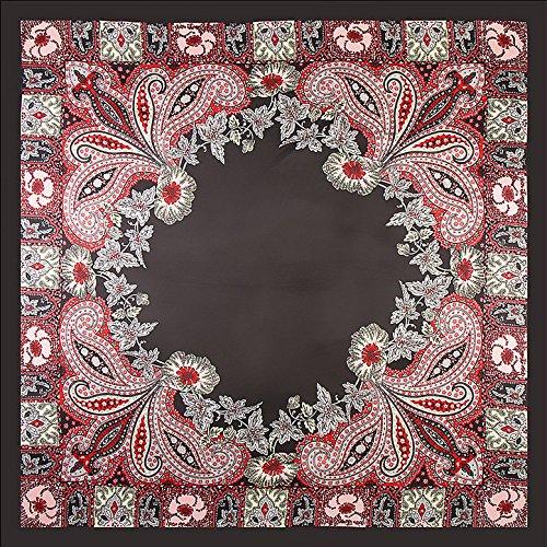 Fengh clásica artística suave satén seda pañuelo pañuelo cuadrado (negro + rojo)