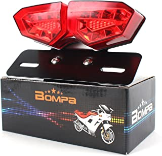 Chrome FATECIM Motorcycle Custom Oval-shaped LED Tail Light Cat Eye Rear Running Light Brake Light Stop Light Red Lens Integrated License Plate Lamp Universal Fit for Motorcycle//Cruisers//Bikes