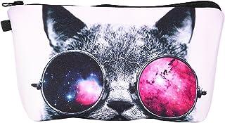 Frcolor 化粧ポーチ メイクポーチ コスメポーチ 化粧品収納 小物入れ 軽い 軽量 防水 旅行も便利 猫柄 カワイイ おしゃれ キャリーケース アイコス グロー コスメ まとめて持ち運び