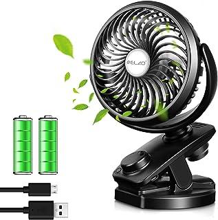 ELZO USB Ventilator, 5000mAh Clip Schreibtisch Ventilator Mini Lüfter USB Tischventilator Tragbarer Ventilatoren 360° Drehung für Schreibtisch,Zuhause,Büro,Auto usw.