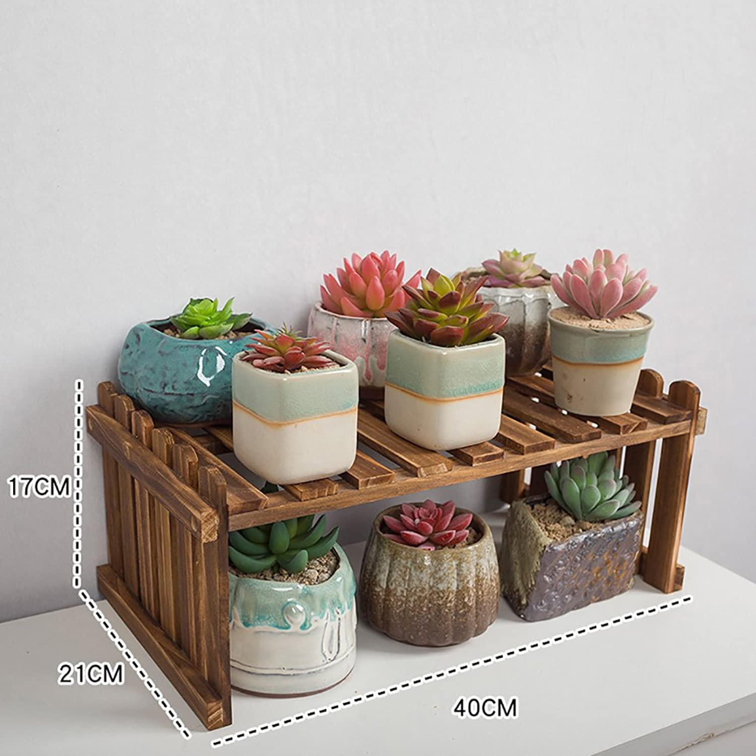 NYDZDM Flower Shelf Wooden, Multi-Layer Indoor White Desk Balcony Living Room Storage Pot Holder (Size   40×21×17cm)