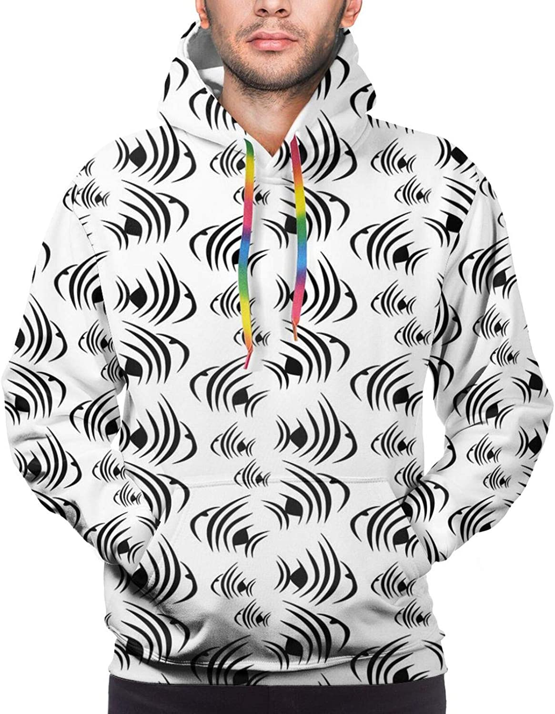 TENJONE Men's Hoodies Sweatshirts,Monochrome Abstract Subaquatic Animalia Concept Minimalism Inspirations Aquarium