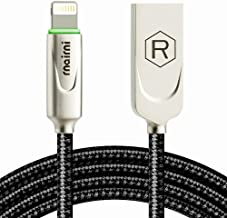rnairni iPhone USB Charger Smart LED Auto Disconnect Charge Cable - 6FT/1.8M Length Nylon Braided Charge Compatible iPhone X iPhone 8 7/7 Plus 6/6 Plus 6s/6s Plus 5s iPad Mini iPod