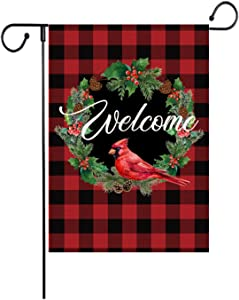 Christmas Garden Flags, Welcome Wreath Bird Garden Flag Vertical Double Sized Christmas Burlap Flag for House Yard Outdoor Decor 12.5 x 18 Inch