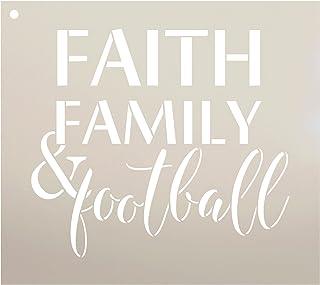 StudioR12 Faith Family and Football Stencil 再利用可能なマイラーテンプレート/フォールスポーツ/ペイントウッドサイン用 ウォールアートパレット Tシャツまたは枕 DIYホームデコ サイズ選択 12