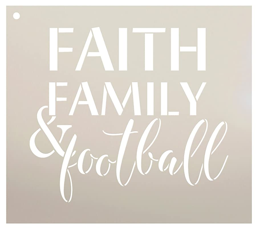 Faith Family and Football Stencil by StudioR12 | Reusable Mylar Template | Fall Sports - Use to Paint Wood Signs - Wall Art Pallets - T-Shirts or Pillows - DIY Home Decor - Select Size (12
