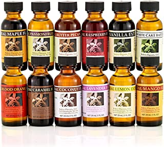 Baker's Best Collection - Natural Flavors & Extracts - 12 (1 FL OZ) Bottles -