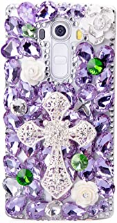 STENES Alcatel One Touch Fierce XL Case - STYLISH - 100+ Bling Crystal - 3D Handmade Big Cross Camellia Flowers Design Protective Case For Alcatel One Touch Fierce XL - Purple
