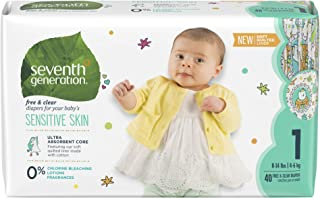 Seventh generation Baby Diapers - Stage 1,Size  8-14 lbs, 40 Count