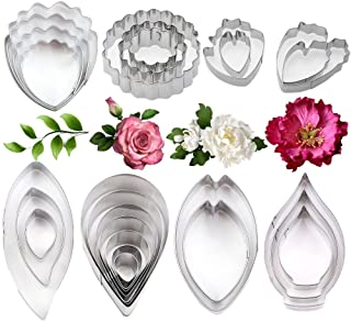 26Pcs Stainless Steel Gum Paste Flower and Leaf Cutter Set Fondant Flower Cookie Cutter Sugarcraft Flower Making Tool for ...