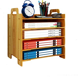 Marbrasse 5 Trays Wooden Desk File Organizer, Document Mail Paper Organizer Letter Tray Storage Shelf Sorter for Office Home Supplies