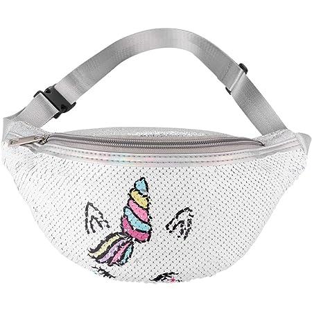 FENICAL riñonera Unicornio cinturón riñonera Bolso de Pecho Flip Lentejuelas riñonera para niñas Mujeres
