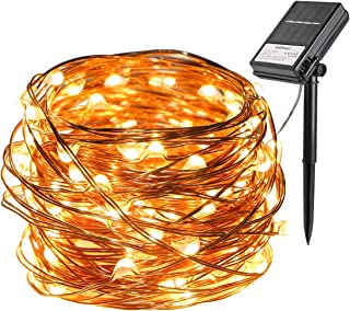 Battery and Solar String Lights 33ft 100 Led Outdoor String Lights Waterproof Copper Wire Light Decorative Solar Fairy Lights for Gardens, Gate, Yard, Party, Weeding, Christmas (Warm White)