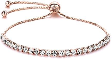 J.Fée Réglable Bracelet Argent Bracelet avec 5A Zircon Cubique Bijoux Argent Silver Bracelet Cadeaux d'anniversaire