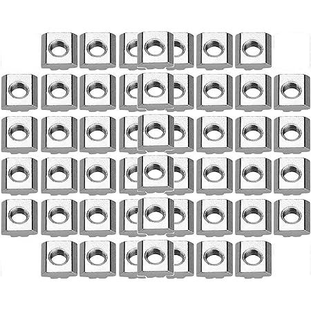 Walfront EXPSFN019492 EU20-M4 Lot de 50pcs Ecrous en T Coulissant Norme Europ/éenne Surface Nickelage en Acier au Carbone pour Profil/é dAluminium