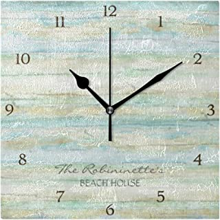 Mika 流木 海 ビーチハウス 沿岸海岸 四角 掛け時計 置時計 置掛両用タイプ 柱時計 壁掛け 置き時計 連続秒針 無騒音 クロック 北欧 スイープムーブメント 静音 ファッション インテリア 個性的 正方形