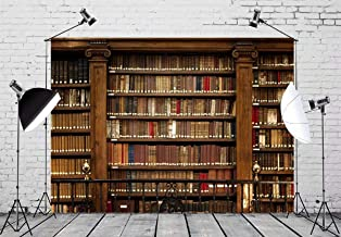 BELECO 10x6.5ft Vintage Bookshelf Backdrop Library Books Antique Book Racks in Old Library Phtography Backdrop for Party Decoration Birthday YouTube Videos School Photoshoot Photo Background Props