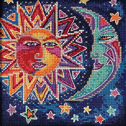Mill Hill Sun and Moon Beaded Counted Cross Stitch Kit 2018 Laurel Burch Celestial Collection LB141813 (Moon Designs Counted Cross Stitch)