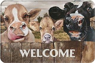 EZYES Door Mat Welcome Mat Funny Animals Rug Doormat Cute Cow Black and Yellow Three Heads Calf Cattle Farm Art Non-Slip R...
