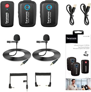 2.4GHz Wireless Microphone System Two Transmitters for Camera Smartphone, Saramonic Ultracompact Dual-channel Mic for DSLR, Mirrorless, Video Cameras, Mobile Devices Youtube Facebook Live (TRS & TRRS)
