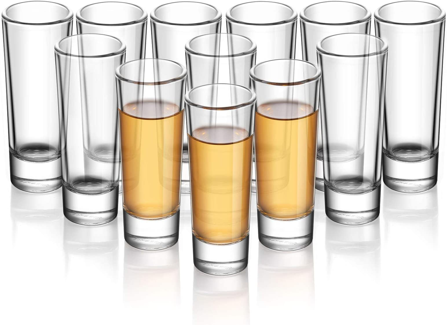 ELIVIA Shot Glass Set with Heavy Base, 2 oz (12 pack) Clear Glasses for Whiskey, Liqueurs and Dessert - JL01