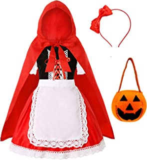 Little Red Riding Hood Costume for Girls Halloween Costume Party Dress 3-10 Years