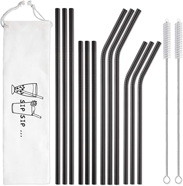 Hiware 12 Pack Black Stainless Steel Straws Reusable With Case Metal Drinking Straws For 30oz 20oz Tumblers Yeti Dishwasher Safe 2 Cleaning Brushes Included