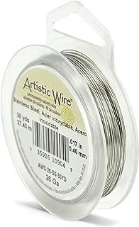 Beadalon Artistic, 26 Gauge, Stainless, 30 yd (27.4 m) Craft Wire, Shiny Steel