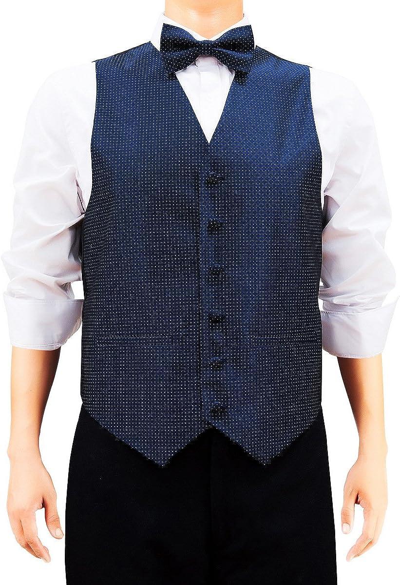 Retreez Men's Check Textured Vest with Tie, Bow Tie, Pocket Square Gift 4 pc Set