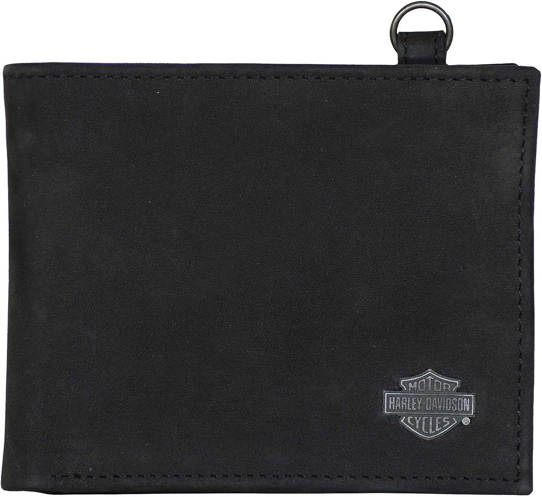 Harley-Davidson Men's B&S Bi-Fold Leather Wallet w/RFID Protection - Black