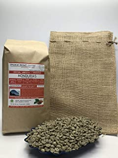 5 Pounds – Northern Central America – Honduras - Unroasted Arabica Green Coffee Beans – Grade Strictly Hard Bean – Altitude 1200-1400 Meters – Drying/Milling Process Fully Washed - Includes Burlap Bag