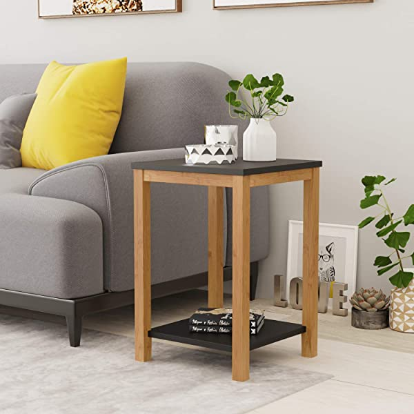 BAMEOS Side Table Modern Industrial End Table 2 Tier Side Table With Storage Shelf Accent Coffee Table For Living Room Bedroom Balcony Family And Office In Black Color
