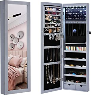 SONGMICS 6 LEDs Mirror Jewelry Cabinet Armoire, Lockable Wall Door Mounted Jewelry Organizer with Mirror, 2 Drawers, Gray UJJC93GY