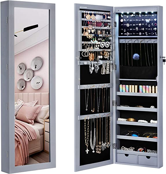 SONGMICS 6 LEDs Mirror Jewelry Cabinet Armoire Lockable Wall Door Mounted Jewelry Organizer With Mirror 2 Drawers Gray UJJC93GY