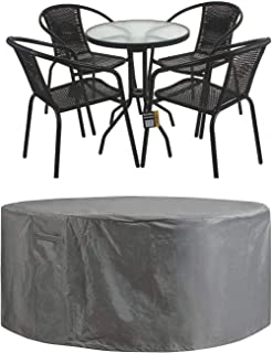 STARTWO Patio Furniture Cover Heavy Duty Waterproof Anti-Fading Cover for Outdoor Round Table & Chairs Set,Grey 60