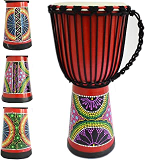 طبل آفریقایی Djembe Mahogany Goatskin Drumhead (9 اینچ ، قرمز)