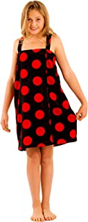robesale Polka dot Girls Bath Towels, Black Red, Medium