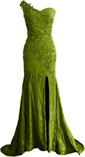 MACloth Women One Shoulder Long Prom Dress Mermaid Lace Wedding Gown Evening