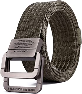 Men'S Canvas Belt Double Ring Belt Sports Tactical Belt Military 47×1.6in Wide Ring Buckle