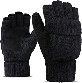 Elonglin Half-Finger Flip Cover Gloves Wool Blend Knitted Winter Warm Gloves Men Women Convertible Fingerless Mittens for ...