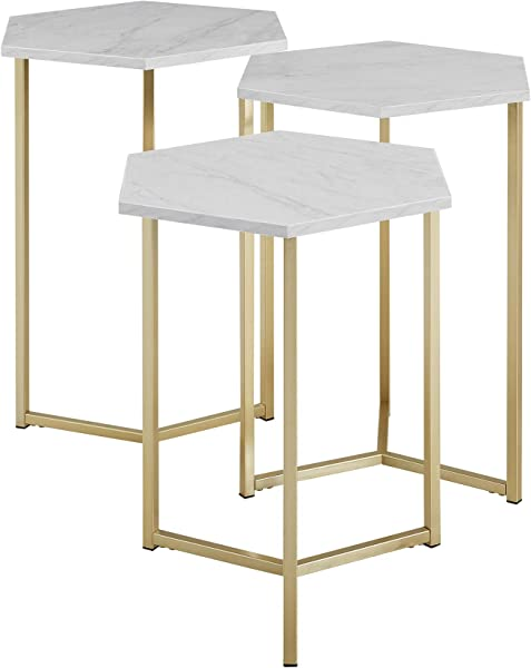 WE Furniture AZF16HEX3WM Modern Hexagon Nesting Tables For Living Room Stacking End Side Nightstands Set Of 3 Faux White Marble Gold